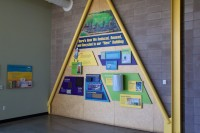 Downstairs at the Boulder County Recycling Center, this display explains how the building was made out of sustainable materials.