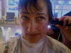 Beth during buzz cut at Als Denver Jan 2012